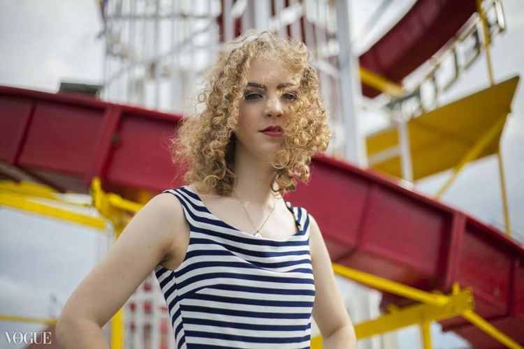 Vogue Italia Photo Vogue Publication Young Women One Woman Only Amusement Park Portrait Fashion Curly Hair Outdoors Concept Herne Bay Kent England Model Modelling Fashionista