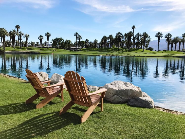 Empty Chair Empty Chairs Wooden Chairs Relaxation View Scenic Coachella Valley Palm Desert, CA Tranquility