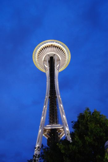 Low Angle View Sky Blue Outdoors Architecture Seattle Space Needle Seattle Dusk In The City Dusk