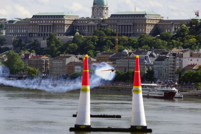 Red Bull Air Race Budapest 2017 Air Race Architecture Building Exterior Built Structure City Day Flight Motion No People Outdoors Sky Tree Water