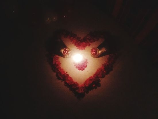 Red Redrose  Redheart Heart Shape Love Nightphotography Darkness