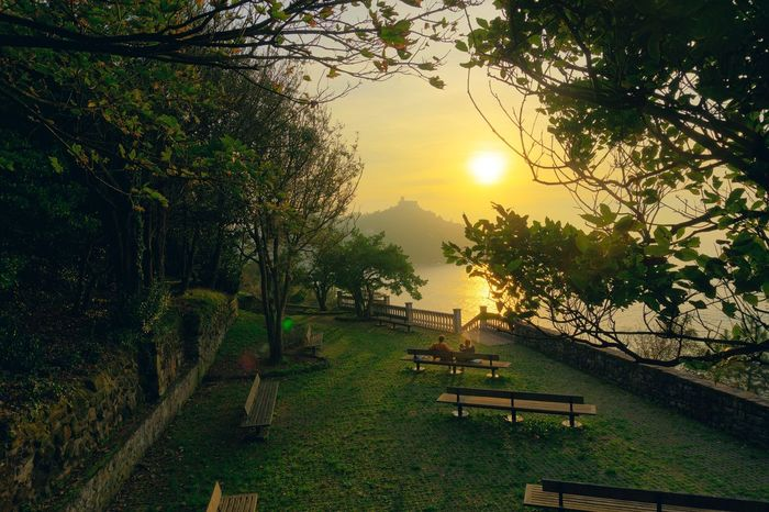 Tree Beauty In Nature Nature Sun Growth Scenics Tranquil Scene Tranquility Sunset Outdoors Landscape No People Grass Sky Water Mountain Day San Sebastian Donostia / San Sebastián Donosti  Pais Vasco España Beauty In Nature Amazing View Colors Love Yourself The Traveler - 2018 EyeEm Awards