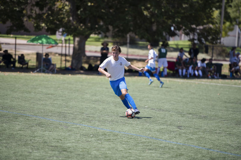 Full length of man playing soccer on field