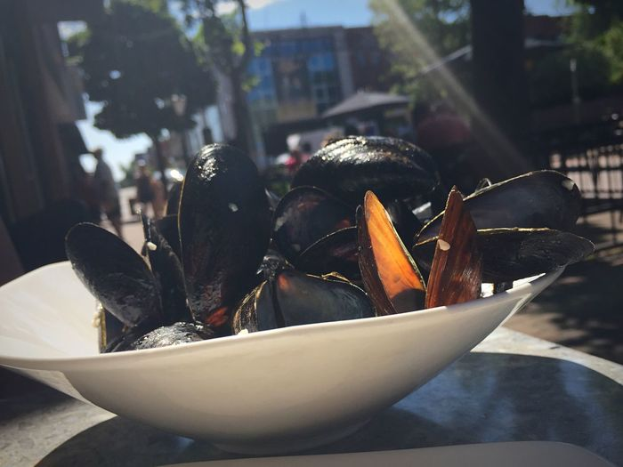 Close-Up Of Mussels In Bowl On Table