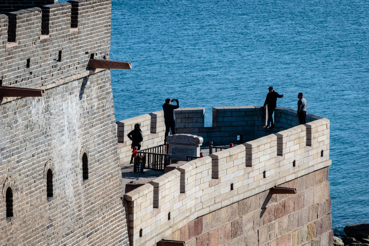 Ancient History Archaeological Site Architecture Castle Great Wall Hebei Sunlight Tourist Tourists Attraction Blue China Chinese Day Fortification Historic Site History Landmark Military Outdoors Qinhuangdao Sea Shanhaiguan Sunlight Water