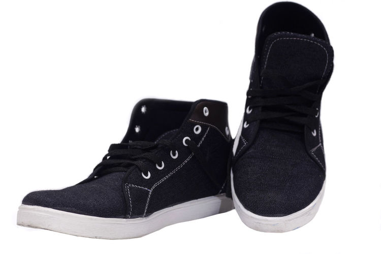 Kids Shoes Black Color Fashion Human Foot Indoors  Kids Shoes Pair Shoe Still Life White Background
