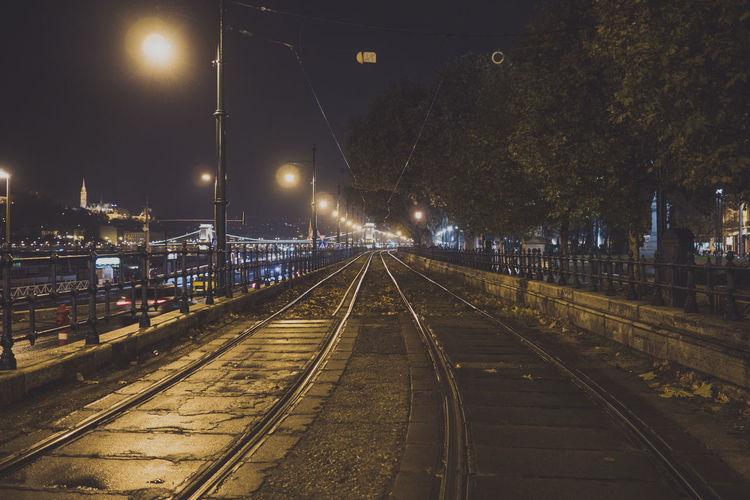 Tramway On Street At Night