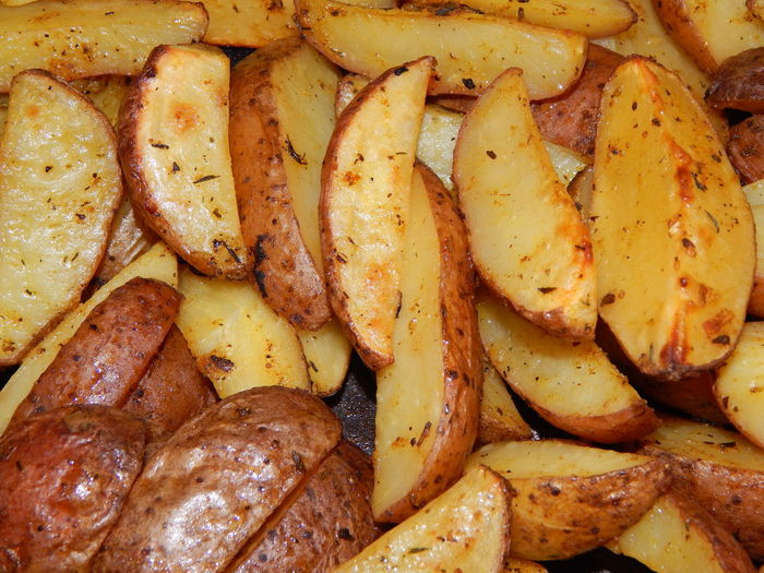 High angle view of potatoes in plate