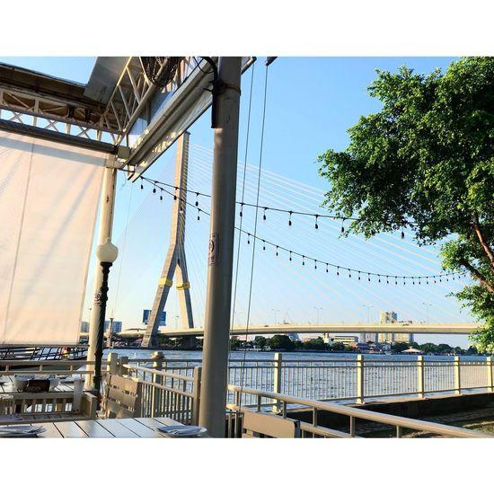 Rama VIII Bridge Built Structure Day Architecture Outdoors Sky Building Exterior Hanging