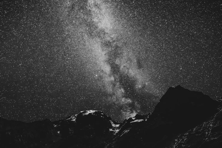 Low angle view of sky on mountain at night