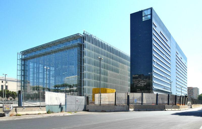 Modern building against clear blue sky