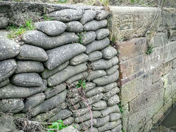 Unusual Wall Sand Bag Concrete Stackedup Old Methods Manchester Ship Canal Runcorn