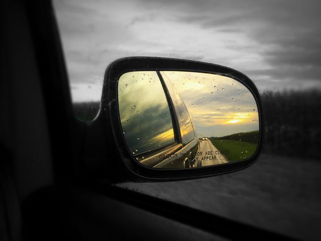 Transportation Car Land Vehicle Reflection Mode Of Transport Side-view Mirror Motion Road Sunset Close-up Blurred Motion Travel Focus On Foreground Sky Cloud - Sky No People