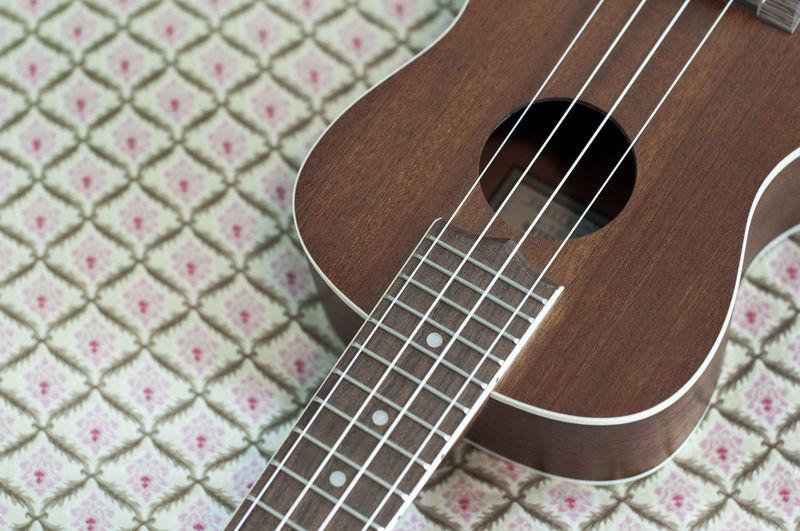 High angle view of guitar