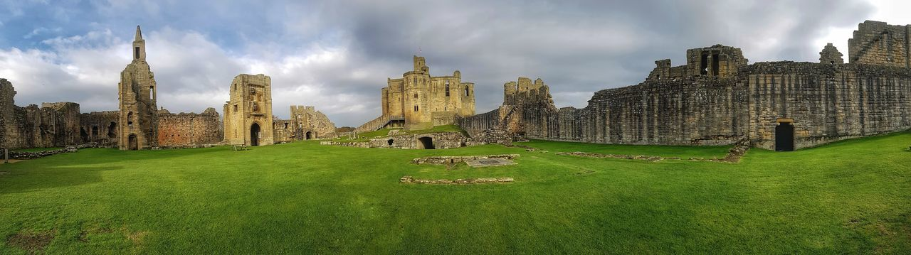 warkworth castle panoramic Malephotographerofthemonth Landscape_photography Creative Light And Shadow Color Photography Panoramic Photography Panoramic Warkworth Castle Panoramic Photography Northumberland Castle Ruin Sky Grass Tower