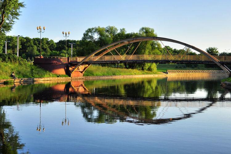 Fisherman's morning Reflection Water Fishing Morning Bridge Outdoors Europe Minsk Belarus BY112_MINSK_AK BY112_BELARUS_AK