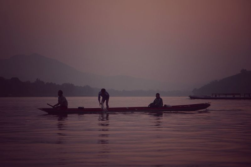Fisherman work the Mekong River in Laos at Sunset Pastel Power The Great Outdoors With Adobe Fine Art Photography