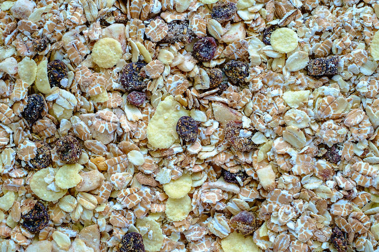 Backgrounds Breakfast Breakfast Cereal Dried Food Dried Fruit Food Food And Drink Freshness Fruit Full Frame Granola Healthy Eating Meal Oats - Food Raisin Seed Snack Wellbeing