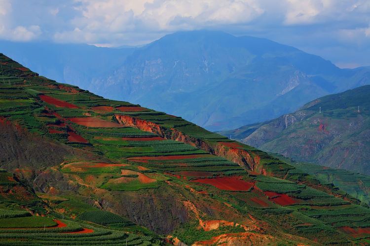 Beautiful country on red dirt with mountains at Kunming in Yunnan, China Scenics - Nature Mountain Beauty In Nature Tranquil Scene Landscape Tranquility Sky Cloud - Sky Environment No People Agriculture Rural Scene Nature Idyllic Non-urban Scene Mountain Range Green Color Land Plant Day Outdoors China