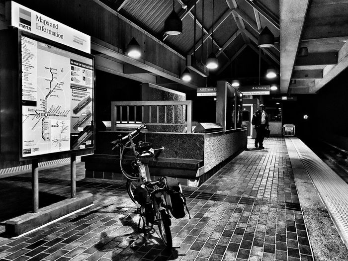 Bicycle Light And Shadow Blackandwhite Public Transportation Subway Illuminated