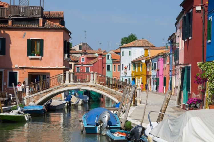 Architecture Boat Building Exterior Built Structure Burano Canal Clear Sky Colourful Day Italy Nautical Vessel No People Outdoors Painted Houses Sky Travel Venice Venice, Italy Water