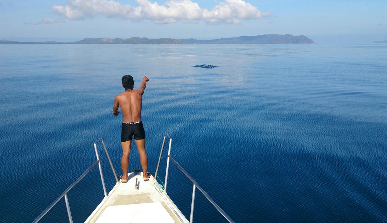 Rear view of a man overlooking calm blue sea