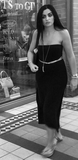 Beautiful Woman Blackandwhite Candid Front View Full Length Maxidress Real People Strapless  Streetphotography