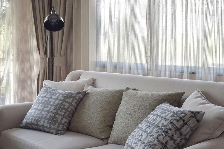 Tilt image of sofa at home
