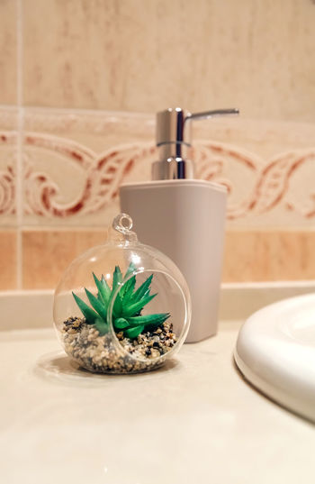 Close-up of decor in bathroom at home