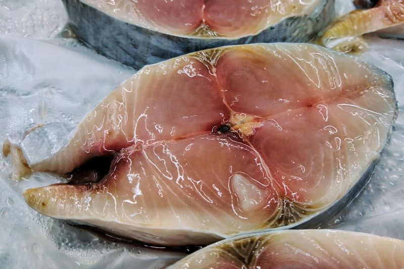 Food And Drink Food Freshness Healthy Eating Wellbeing Close-up Still Life Indoors  No People Raw Food Meat Fruit SLICE High Angle View Retail  Plastic Wrapped Seafood For Sale Cross Section Polythene