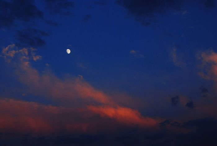 Sky Beauty In Nature Moon Nature Scenics Dusk Tranquility Cloud - Sky No People Low Angle View Outdoors Sunset Flying Crescent Idyllic Dark Dramatic Sky Astronomy Sky Only Night Sunset #sun #clouds #skylovers #sky #nature #beautifulinnature #naturalbeauty #photography #landscape
