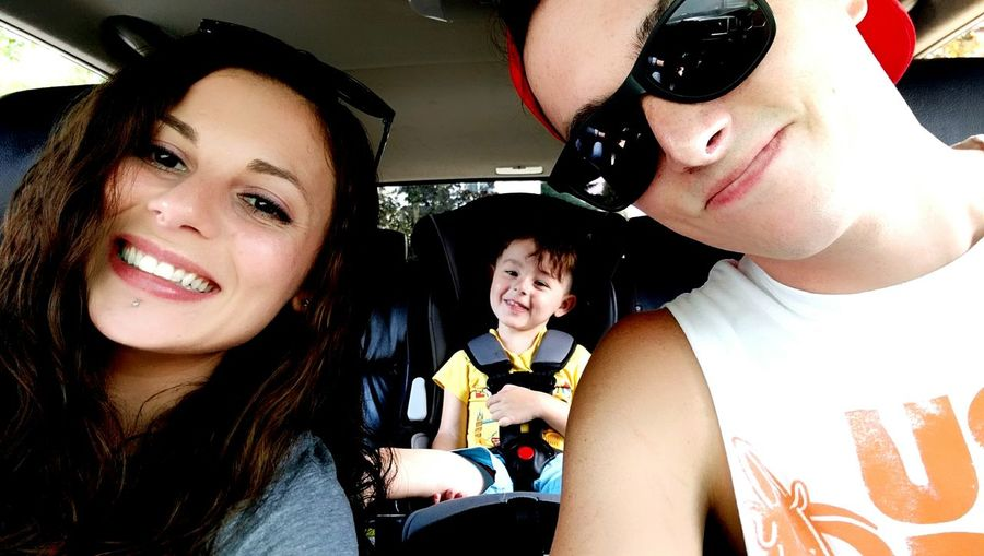 Adult Car Togetherness Smiling Child Family With One Child People Car Interior Portrait Females Cheerful Childhood Vacations Men Happiness Lifestyles Bonding Women Day Young Adult