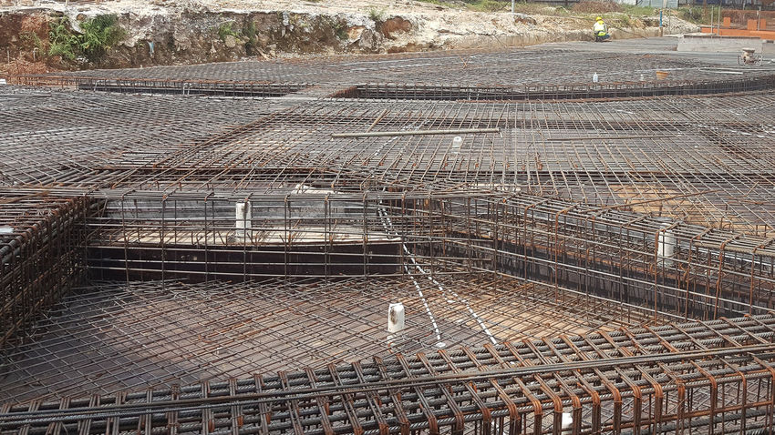 Slab preparation to received concrete Contructionwork Rc Slab Contruction Rebars Slab Fornwork Backgrounds Full Frame Pattern Textured  Close-up