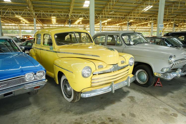 Vintage car parked in parking lot