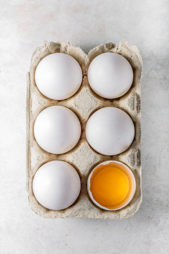 Directly above shot of eggs in carton on table