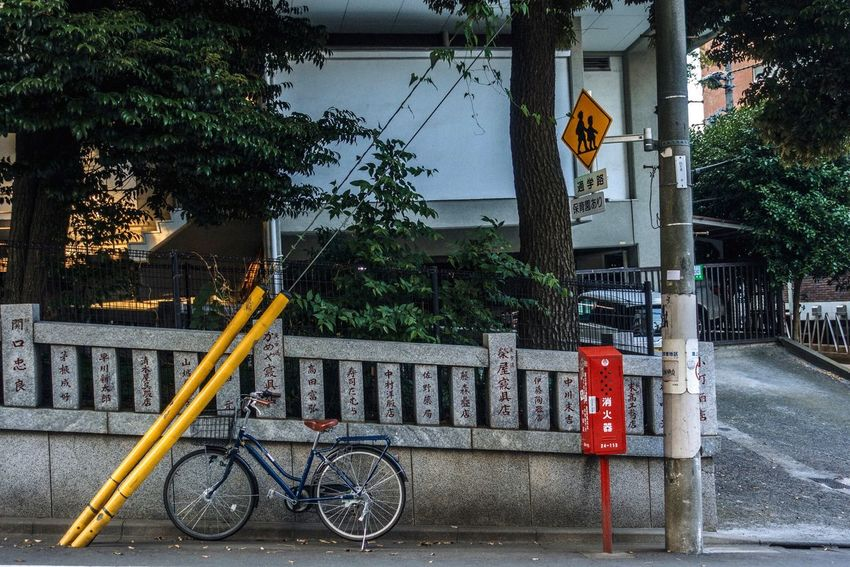Transportation Bicycle Mode Of Transport Tree Built Structure Architecture Outdoors Road Sign Street Building Exterior Land Vehicle Day No People City Road Stationary Japan Street Shot Japan Koenji