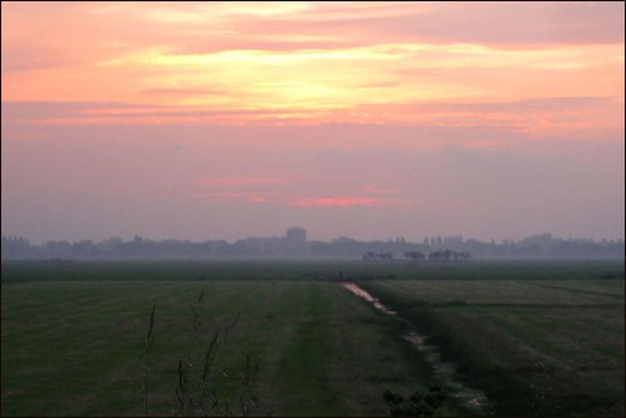 Evening Mood Meadow Dyke  Waver Sunset Holland Scene Tranquil Scene Evening De Waver Tranquility