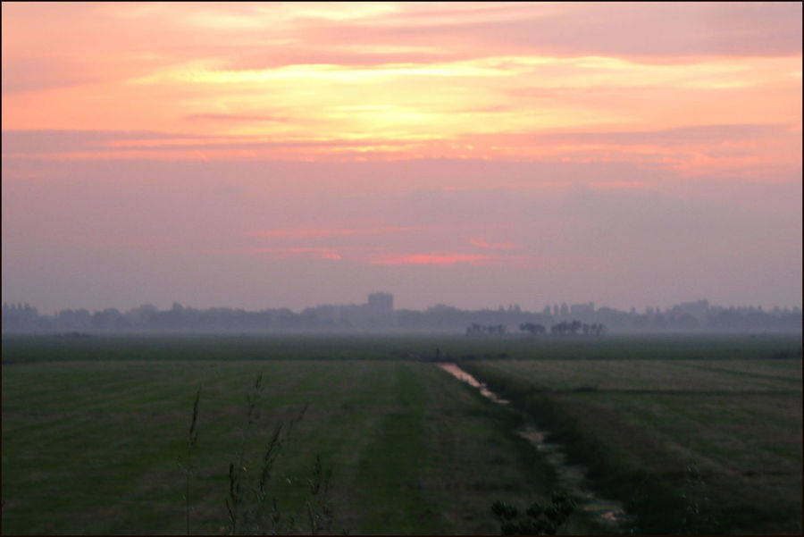 Evening Mood Meadow Dyke  Waver Sunset Holland Scene Tranquil Scene Evening De Waver Tranquility