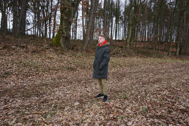 Man looking away while standing against trees in forest