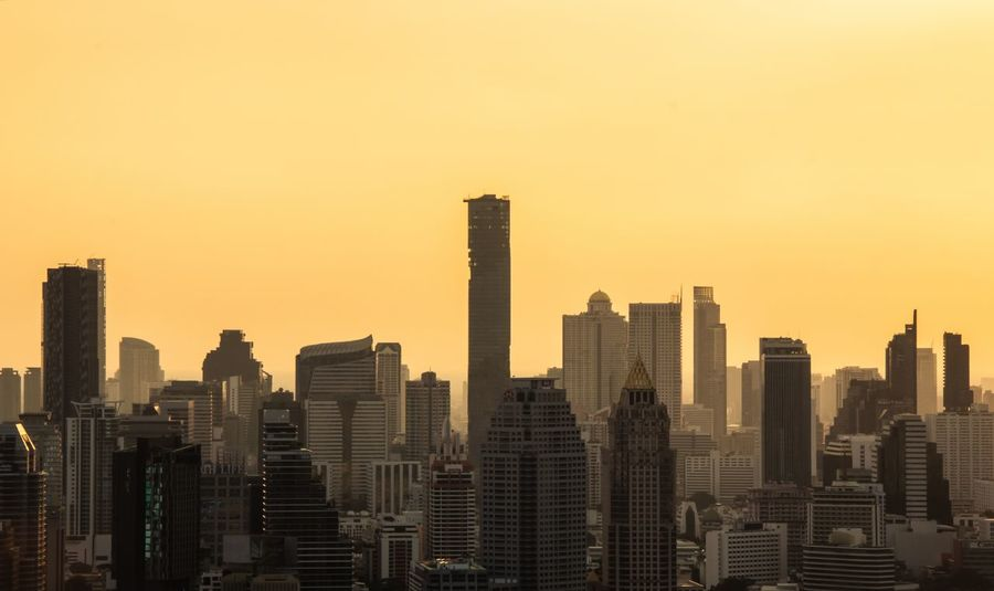 Bangkok Thailand City Cityscape Urban Skyline Modern Skyscraper Illuminated Sunset Downtown District Business Finance And Industry Office Building Exterior Crane - Bird Animal Crest Office Building Origami Urban Road High Rise Construction Financial District  Cctv Headquarters Tower Overpass Thoroughfare