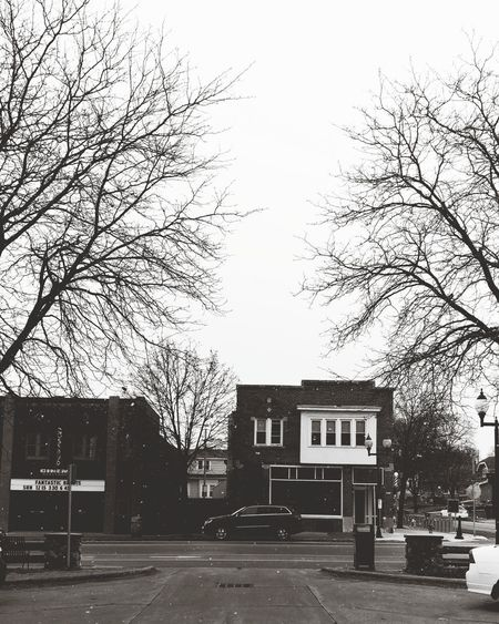 Milwaukee Morning Winter Snowing Milwaukee Old Town Black And White City Tree Sky Architecture Building Exterior Built Structure Empty Road Bare Tree Dead Plant Branch