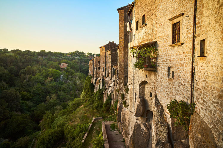 Landscape of grotte santo stefano at sunset and ancient old houses