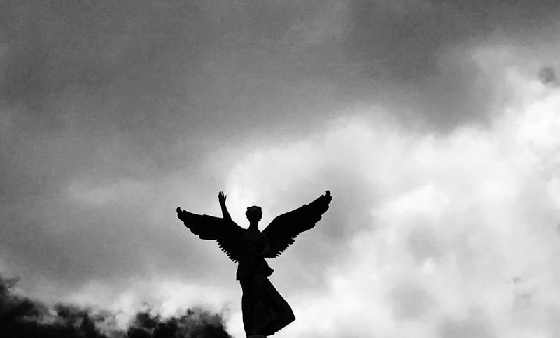 Angel Beak Beauty In Nature Blackandwhite Cloud - Sky Day Flying Low Angle View Magicfeeling Nature No People Outdoors Sky Spread Wings Status Be. Ready. Black And White Friday