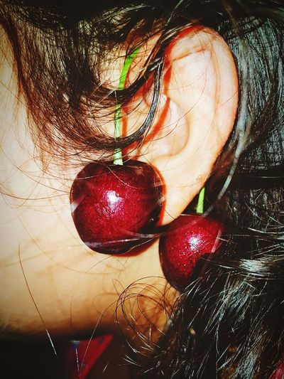 Close-up One Person Freshness Cherries🍒 Summer Nights❤❤❤ Childhood Natural Long Nights  Playfulness