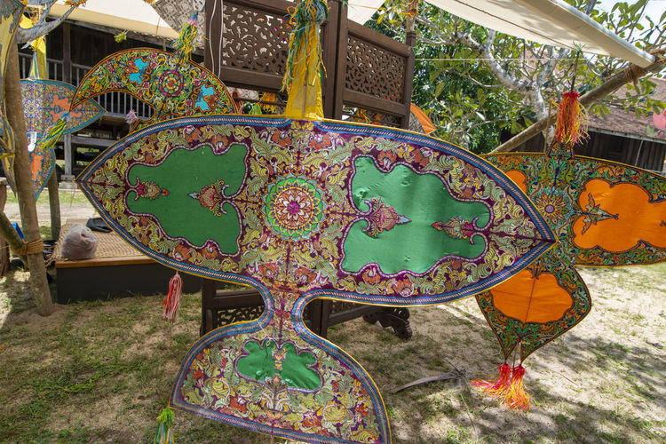 High angle view of multi colored chairs in park