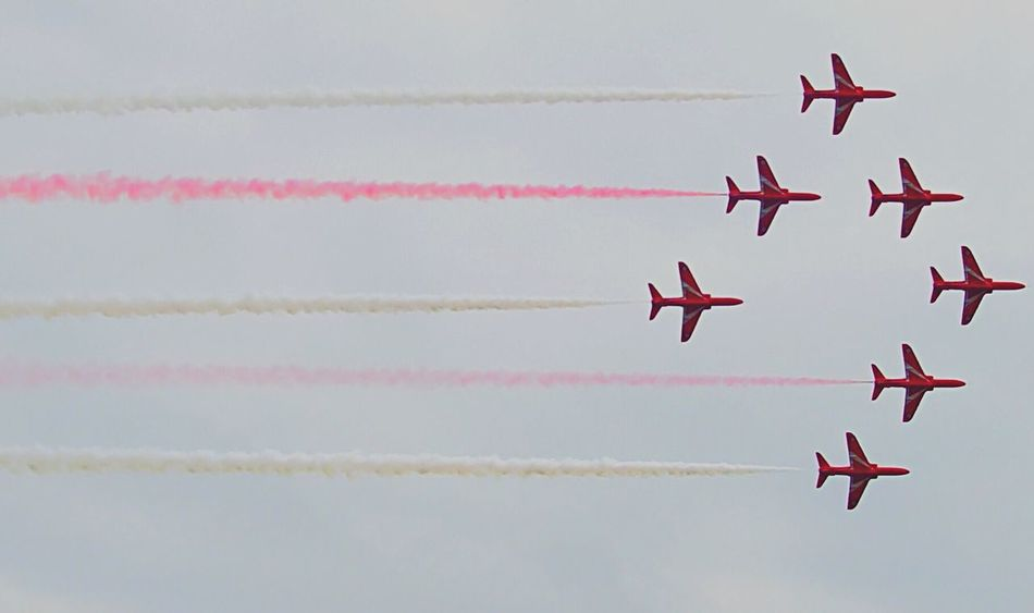 The Red Arrows flying in formation! Original Experiences Check This Out Hello World Taking Photos Enjoying Life EyeEmBestPics Feel The Journey Outdoor Photography Photography EventPhotography Redarrows Raf Royalairforce Jets Aviation Red