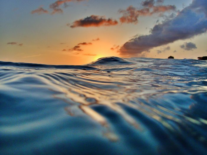 Surface level of sea during sunset