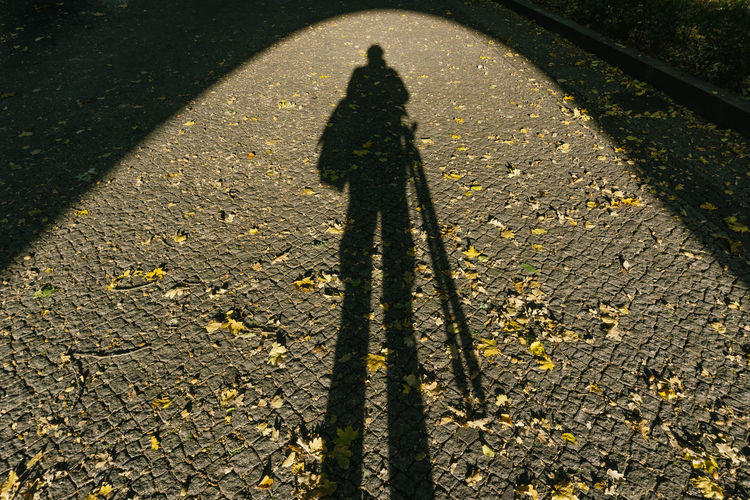 Berlin, Germany, October 11, 2018: Close-Up of Shadow of Photographer (Selfie) at Portal to Soviet War Memorial at Treptow Park Berlin Germany 🇩🇪 Deutschland Color Image Horizontal Outdoors No People Shadow Sunlight One Person High Angle View Real People Focus On Shadow Day Unrecognizable Person Portal Curve Selfie Leaf Scattered Soviet War Memorial Entrance Gate Architecture Built Structure Standing