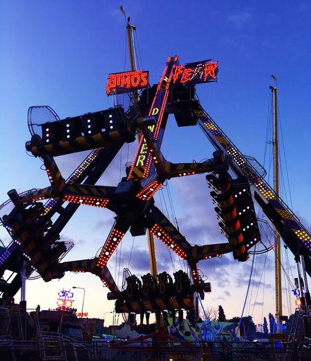 Danger Ride Low Angle View Amusement Park Metal Blue Tall - High Fairground Hull City Of Culture 2017 Geometric Shape Fun
