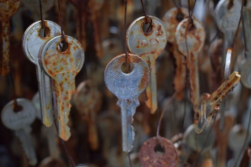 Keys Close-up Day Focus On Foreground Hanging Key Keyboard Keys Photography Metal No People Outdoors Rusty Rusty Key Rusty Keys Rusty Metal Rusty Things Selective Focus